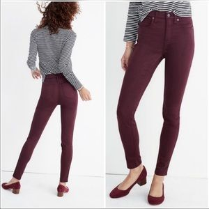 Madewell   Maroon High Riser Skinny Jeans
